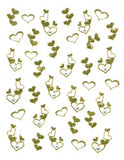 Flat Decal - Gold Hearts with Rhinestone