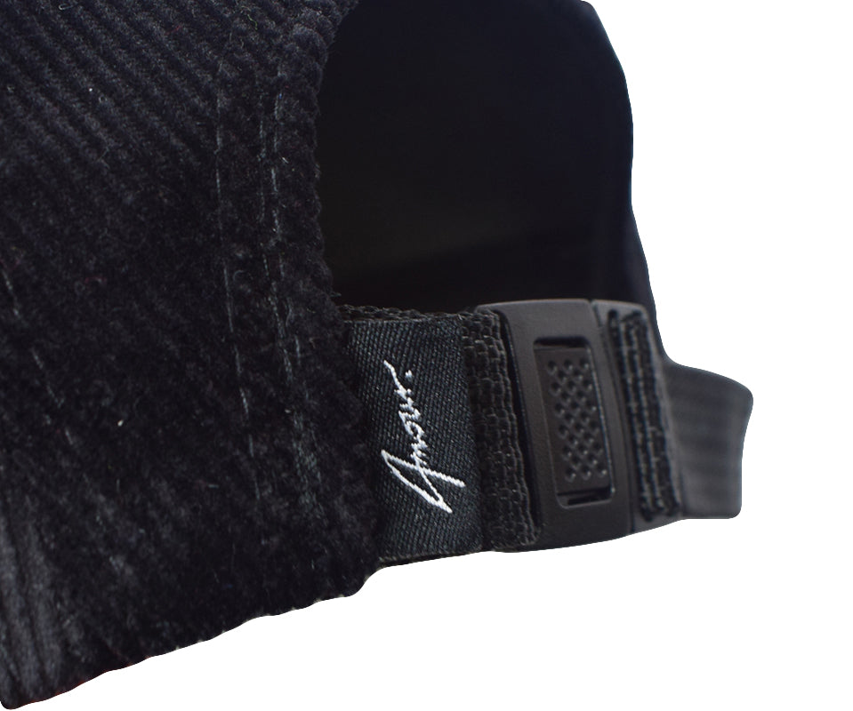 Amour Black Corduroy 5 Panel Cap