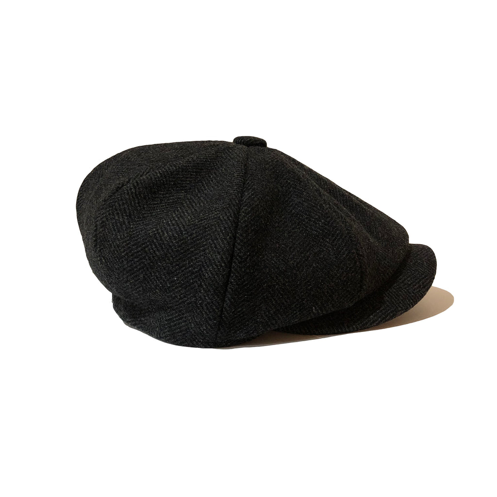Amour Charcoal Grey Wool Baker Boy Cap