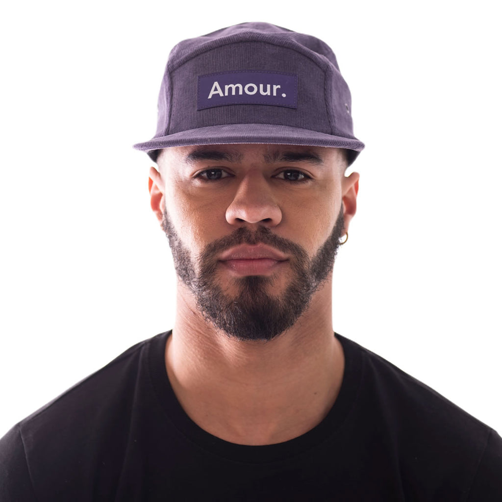 Amour is pleased to offer our Purple Corduroy 5 Panel Cap, with 'Amour' box logo.