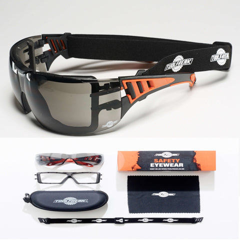 ToolFreak Rip-Out Protective Eyewear Smoke Lens