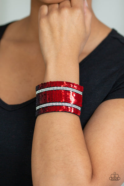 Paparazz Accessories - www.5dollarstylemaven.com - Mermaid Service - Red/Silver - Paparazzi Accessories -