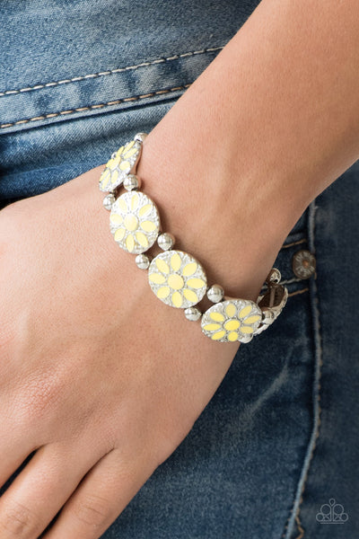 Paparazz Accessories - www.5dollarstylemaven.com - Dancing Dahlias - Yellow - Paparazzi Accessories -