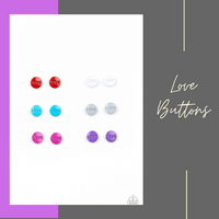 Love Button Earrings - Starlet Shimmer - Paparazzi Accessories