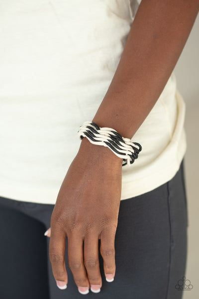 Paparazz Accessories - www.5dollarstylemaven.com - WEAVE  High & Dry - Black White - Paparazzi Accessories -