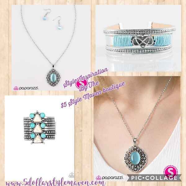 Paparazzi Accessories jewelry - www.5dollarstylemaven.com - Heart of Glace set - Blue - Paparazzi Accessories -