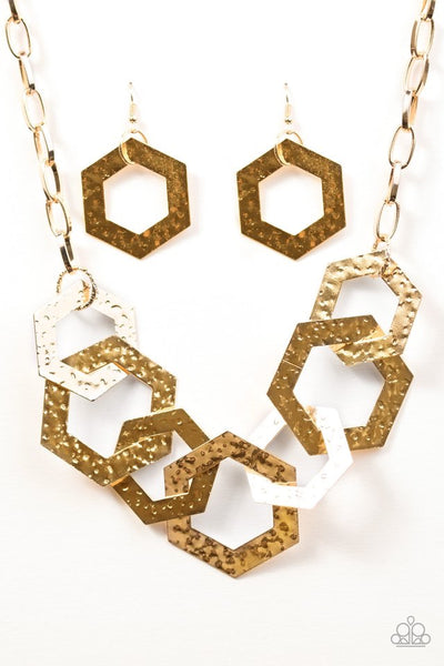 Paparazzi Accessories jewelry - www.5dollarstylemaven.com - The HEX factor - Gold -