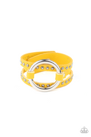 Paparazz Accessories - www.5dollarstylemaven.com - Studded Statement-Maker - Yellow -
