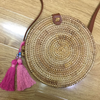Nazar Tan Rattan Bag with Pink Tassels & Evil Eye Beads 20x6cm