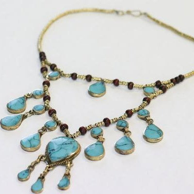 Vintage 2 Tier Drop Synthetic Turquoise Necklace