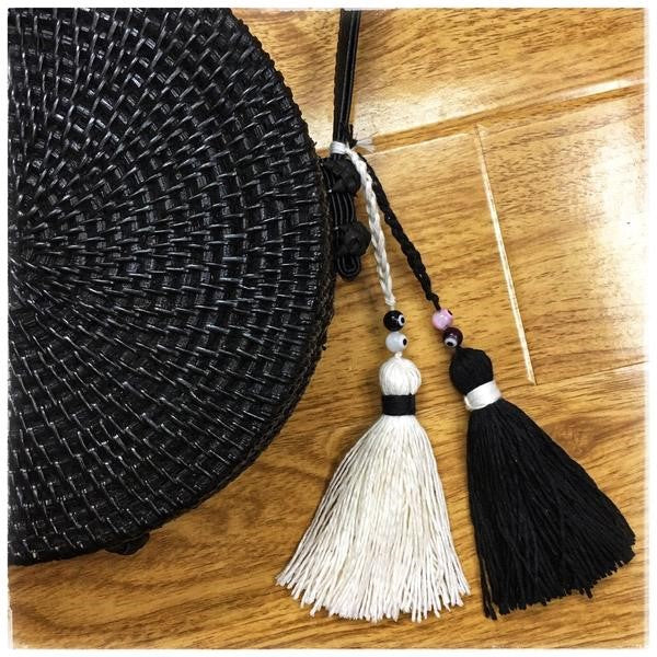 Nazar Black Rattan Bag with Black & Off White Tassels & Evil Eye Beads 20x6cm