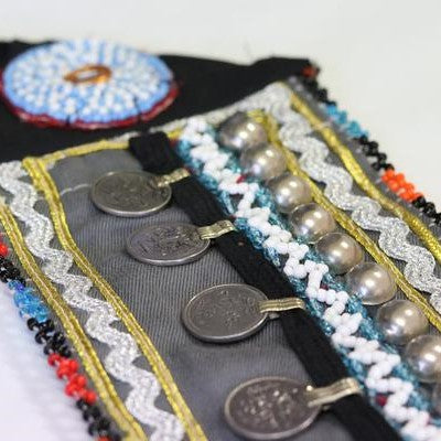 Afghani Handmade Coin Belt Black & Grey
