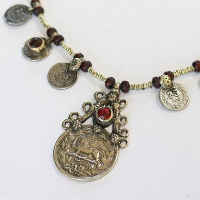 Afghani Tribal Chocker with Coins & Brown Beads