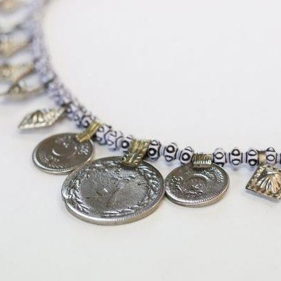 Vintage Beaded & Coins Chocker Necklace