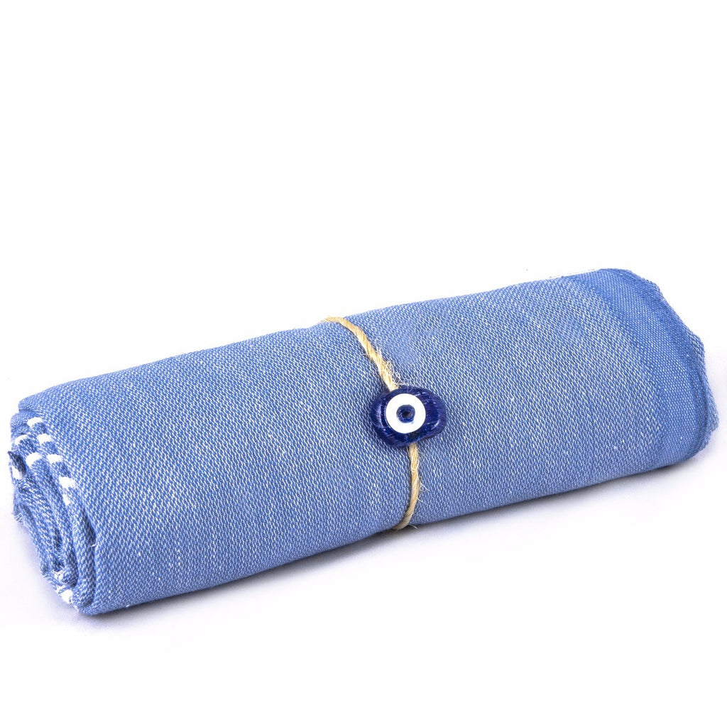 Turkish Peshtemal Lightweight Turquoise Evil Eye Towel
