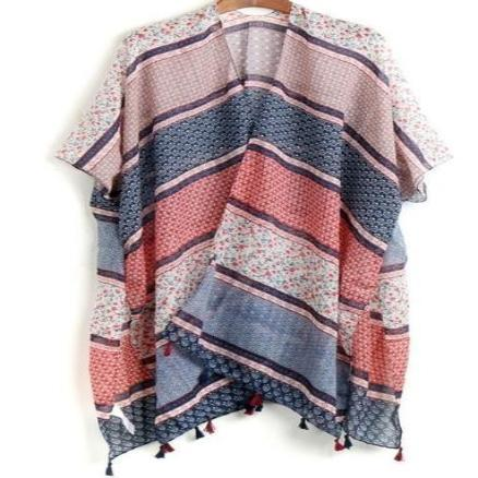 Boho Kimono Horizontal Thick Stripes with Tassels Free Size