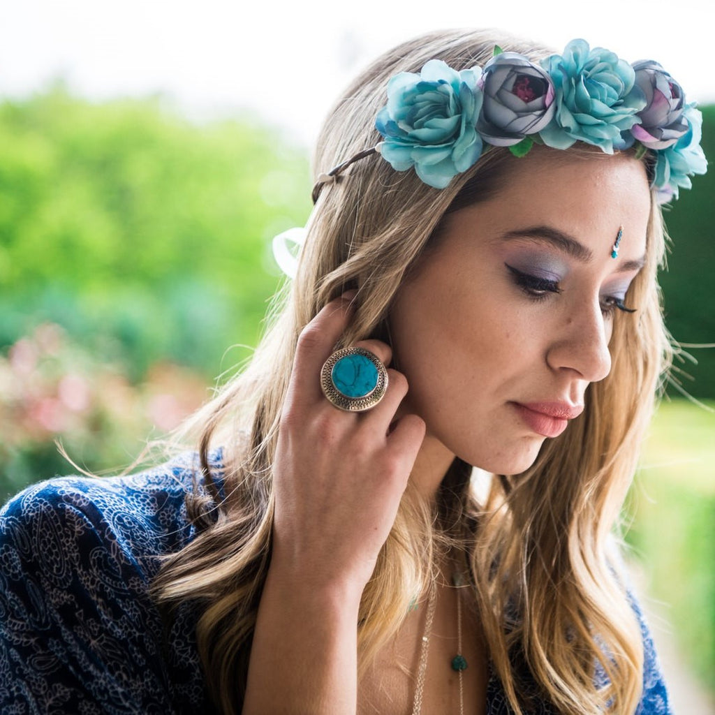 Boho Flower Crown Violet Blue