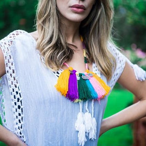 Tribal Festive Fringed & Coins Necklace