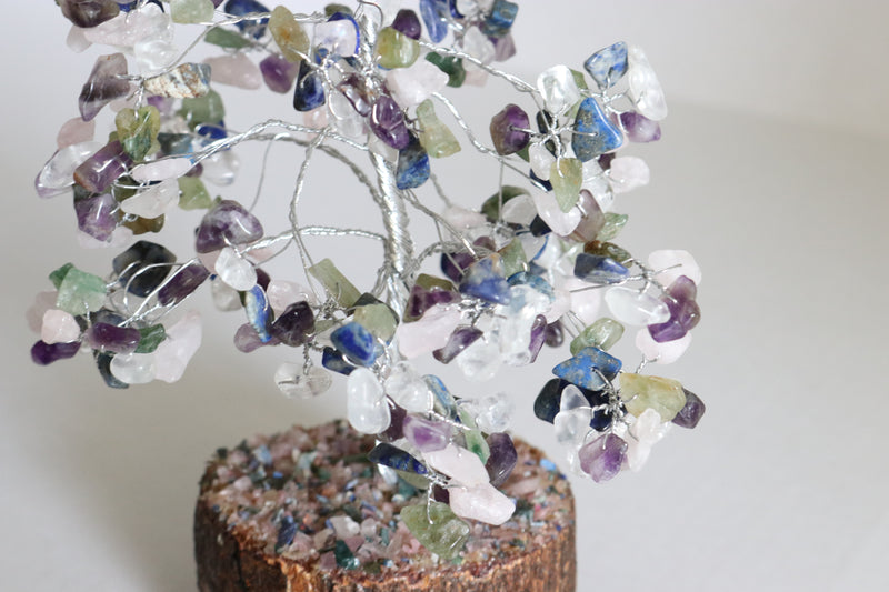 Gemstone Multi Handmade Silver Wire Large Wood Base Tree