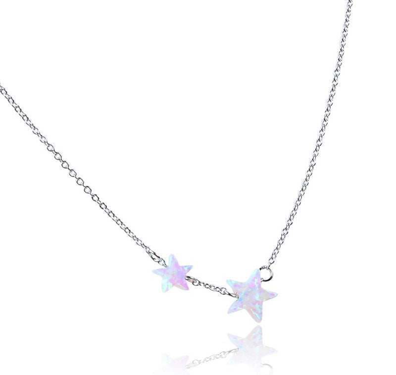 Opal Double Star Dreamy White Sterling Silver Necklace