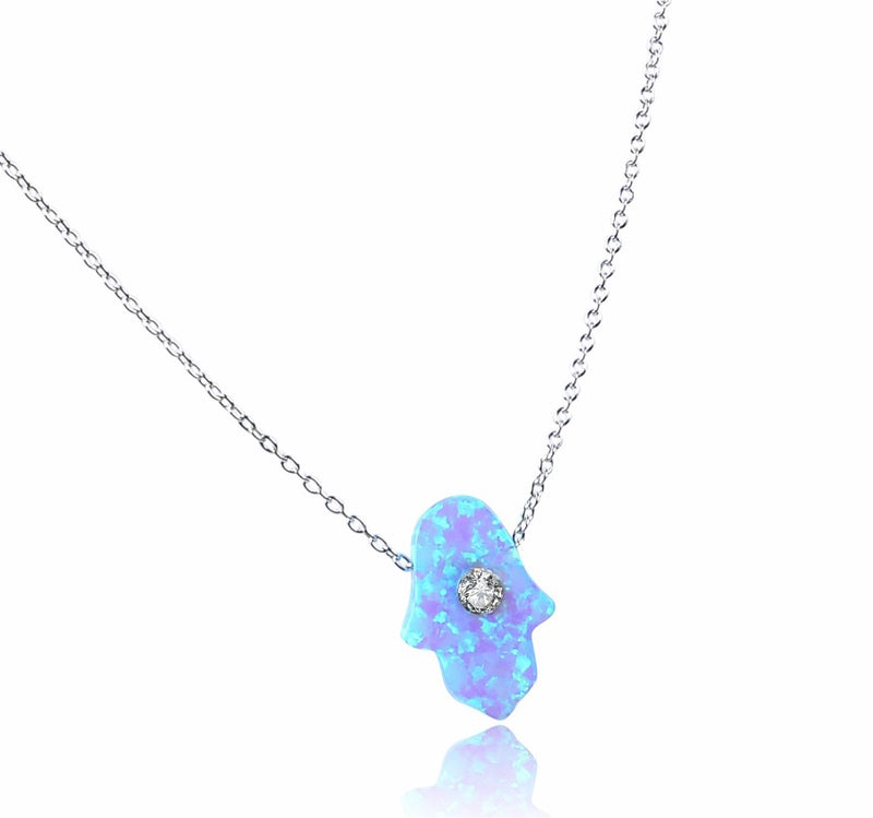 Opal Hamsa Hand Ocean Blue with Crystal Sterling Silver Necklace