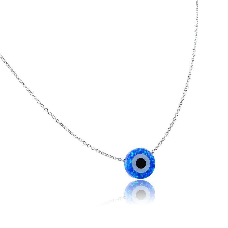 Opal Round Lapis Blue Evil Eye Sterling Silver Necklace