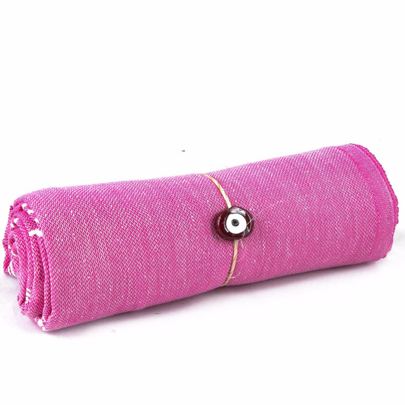 Turkish Peshtemal Lightweight Rose Quartz Evil Eye Towel