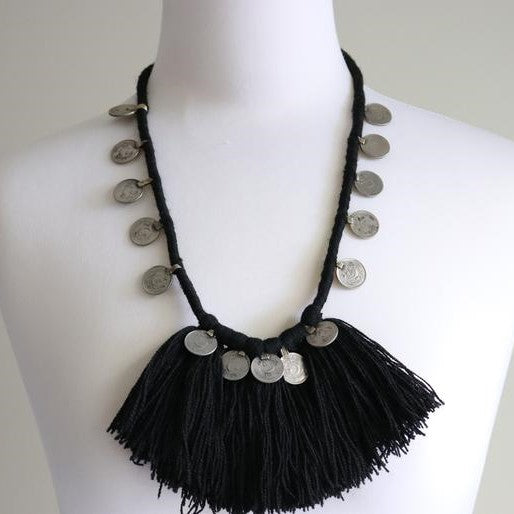 Tribal Festive Black Fringed & Coin Necklace