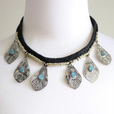 Tribal Triangle Pendant Coins & Chains Black Chocker