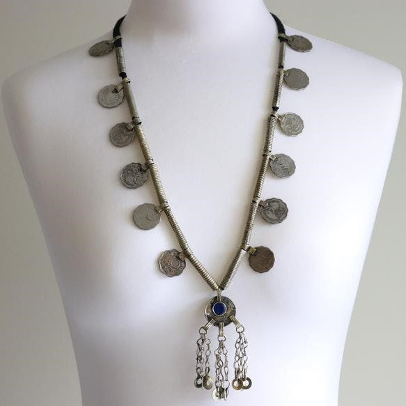 Turkman Tribal Long Coins & Chains Necklace