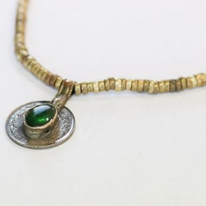 Antique Tribal Reversible Vintage Long Coin Necklace Green Stone