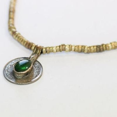 Antique Tribal Reversible Vintage Long Coin Tribal Necklace Green Stone