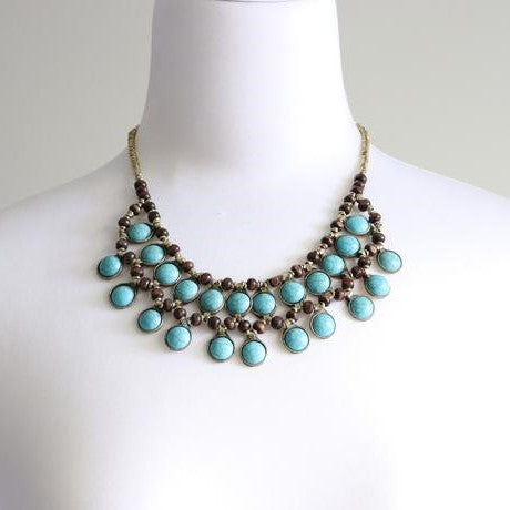 Vintage Double Line Round Turquoise Stone Necklace