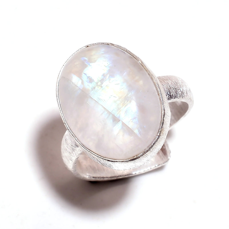 Oval Rainbow Moonstone Sterling Silver Adjustable Ring