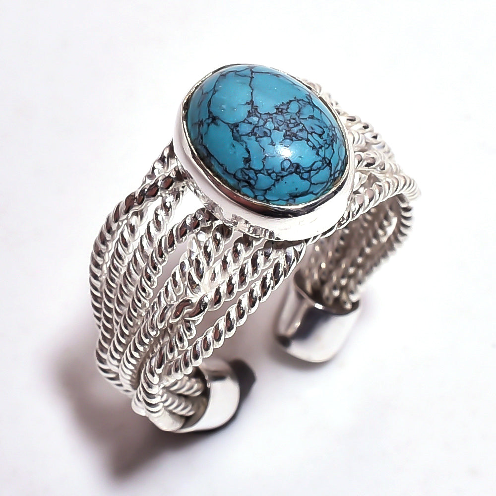Thick Wire Band Turquoise Sterling Silver Adjustable Ring