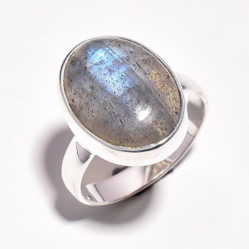 Oval Long Labradorite Sterling Silver Adjustable Ring