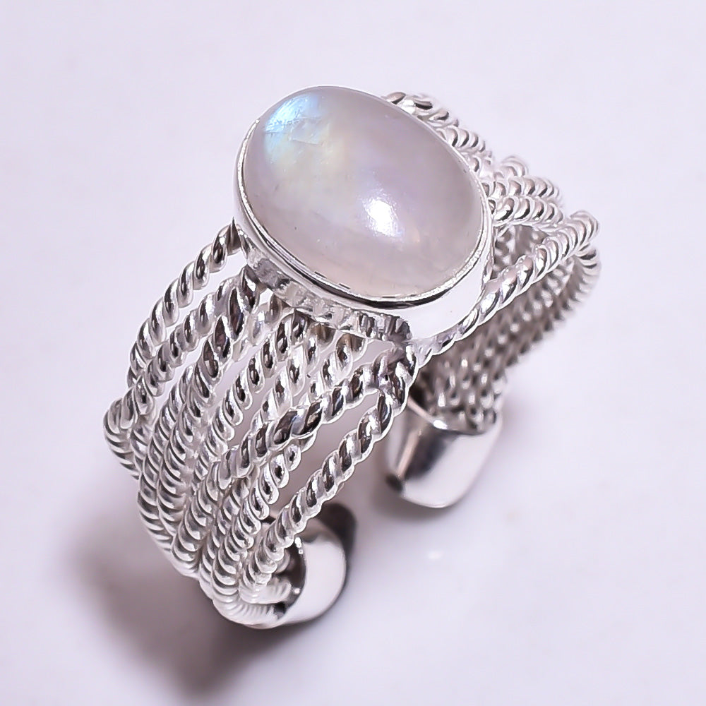 Thick Wire Band Rainbow Moonstone Sterling Silver Adjustable Ring