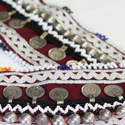 Afghani Handmade Coin Belt Black & Burgandy