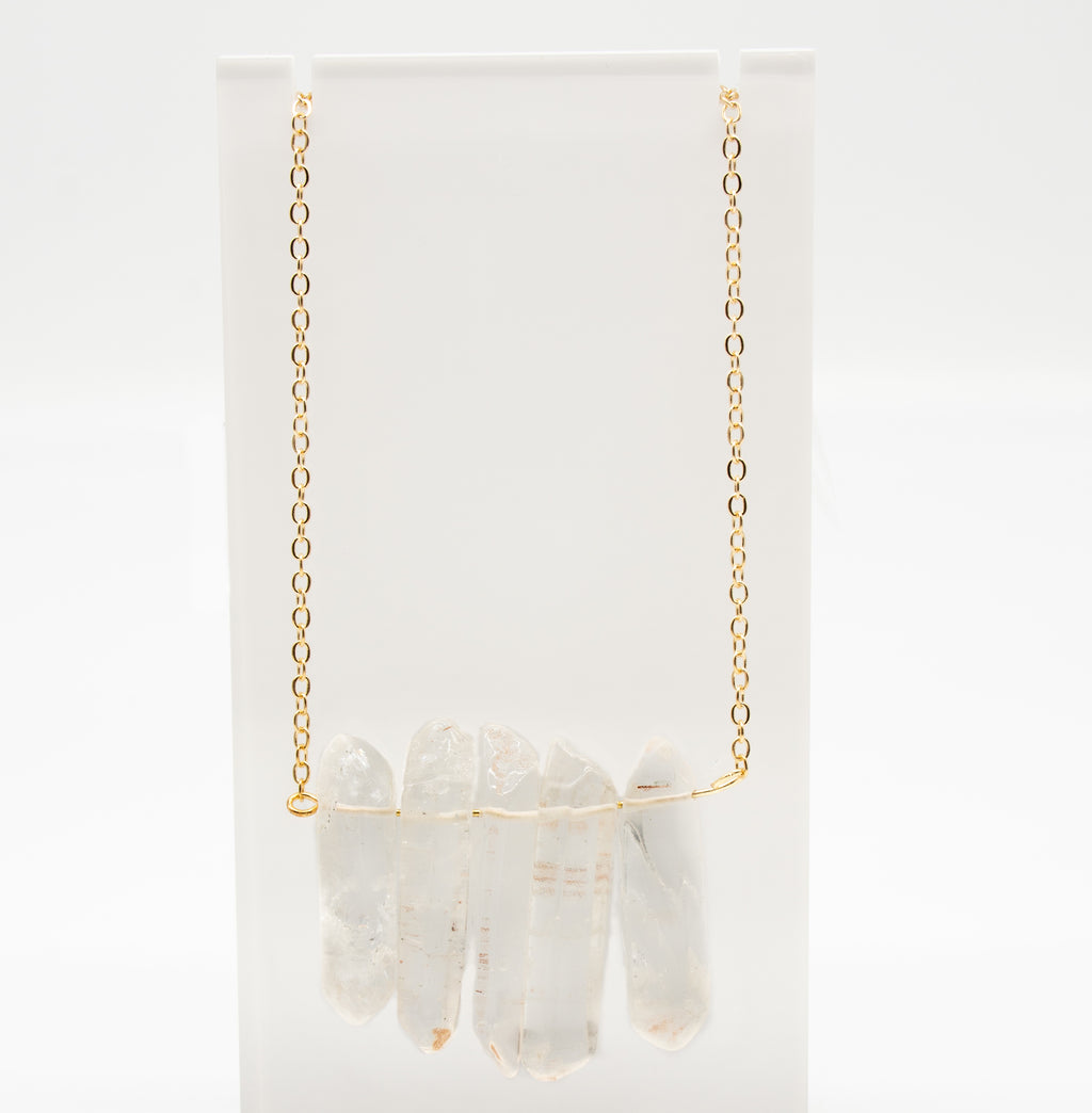 Raw Crystal Quartz Gold Multi Spike Necklace