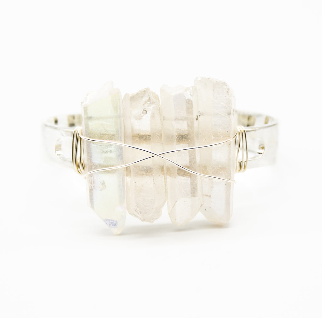 Raw Clear Crystal Quartz Multi Spike Thick Silver Band Cuff Adjustable