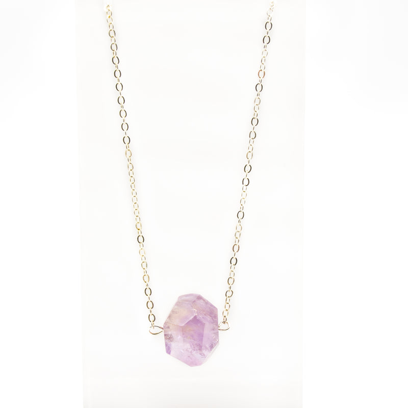Raw Gemstone Amethyst Necklace