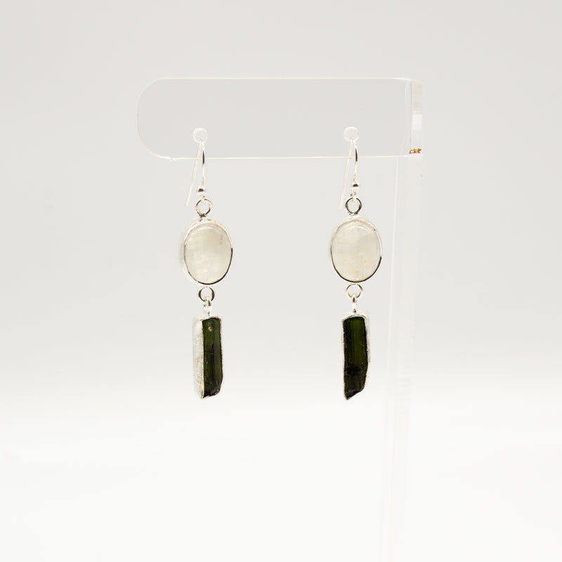 Rough Cut Black Tourmaline & Rainbow Moonstone Long Sterling Silver Earrings