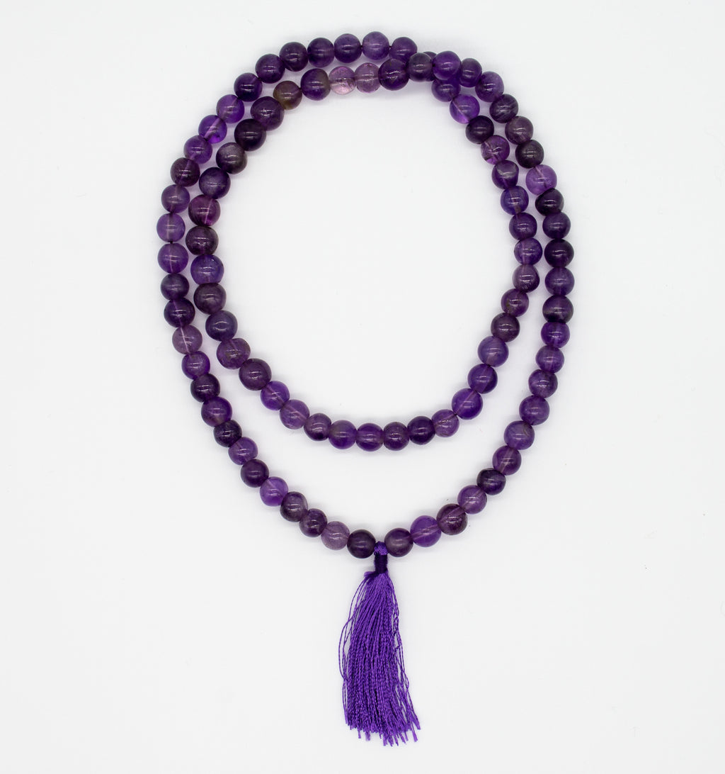 Amethyst Mala Necklace with Tassel