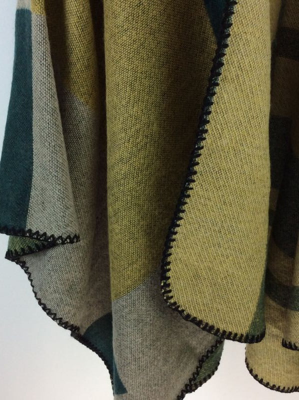 Boho Poncho Shades of Green Free Size