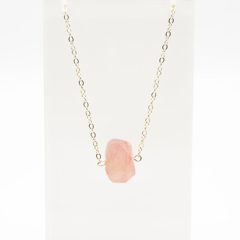 Raw Gemstone Rose Quartz Necklace