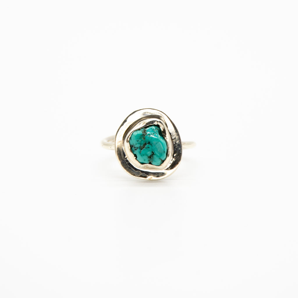 Raw Turquoise Silver Band Sterling Silver Adjustable Ring