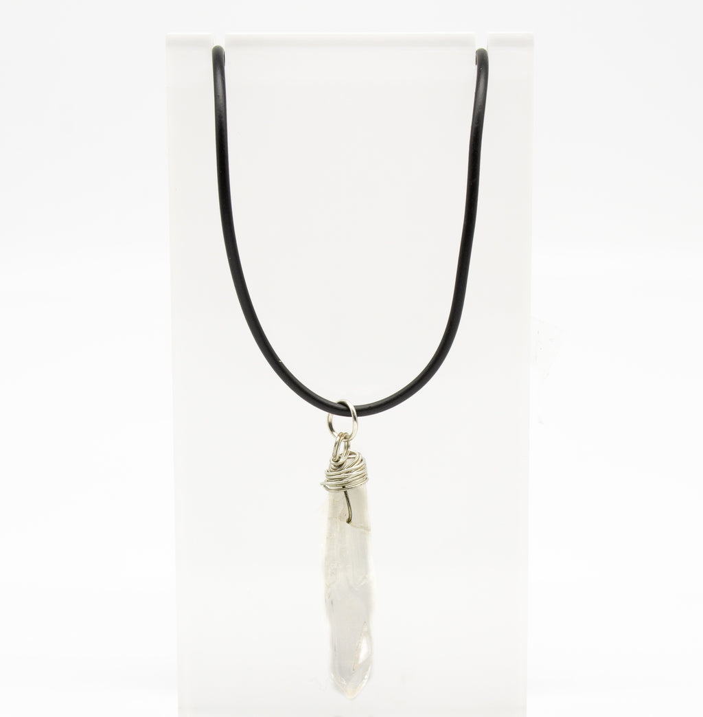 Raw Crystal Black Chocker Clear Quartz Necklace