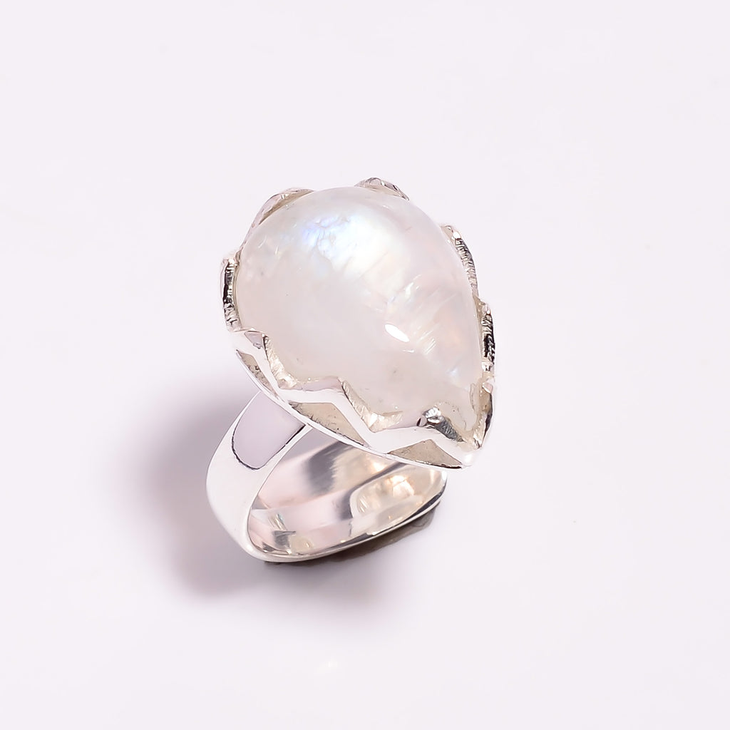 Tear Shape Claw Rainbow Moonstone Sterling Silver Adjustable Ring
