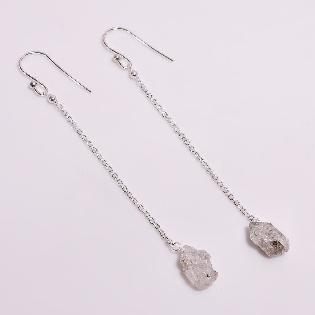 Raw Herkimer & Chain Sterling Silver Earrings