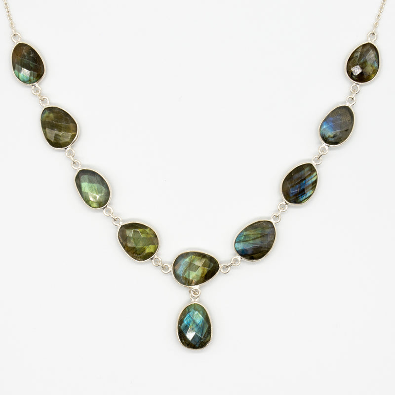 Hanging Labradorite Sterling Silver Necklace